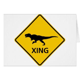 Tyrannosaur Crossing Highway Sign Dinosaur Card