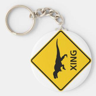 Tyrannosaur Crossing Highway Sign Dinosaur Keychain