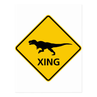 Tyrannosaur Crossing Highway Sign Dinosaur Postcard