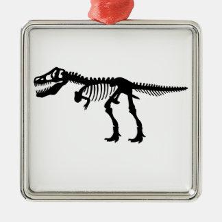 Tyrannosaurs Rex  Dinosaur Skeleton Square Metal Christmas Ornament