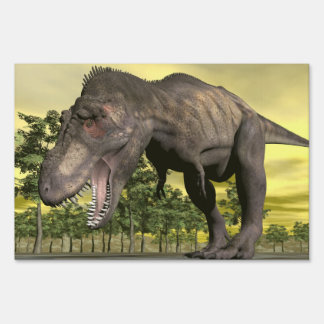 Tyrannosaurus angry - 3D render Sign