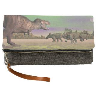 Tyrannosaurus attacking styracosaurus - 3D render Clutch