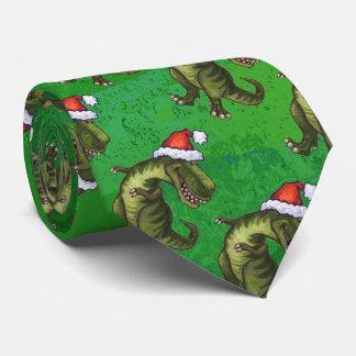 Tyrannosaurus Christmas On Green Tie