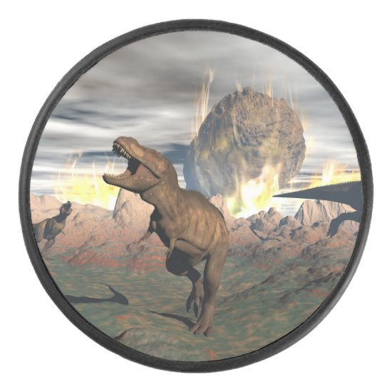 Tyrannosaurus dinosaur exctinction - 3D render Hockey Puck