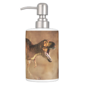 Tyrannosaurus in a Dust Storm Soap Dispenser And Toothbrush Holder