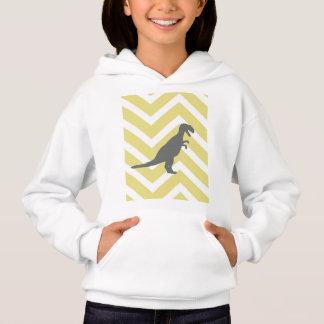Tyrannosaurus on zigzag chevron - Yellow and white Hoodie