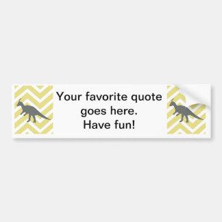 Tyrannosaurus on zigzag chevron - Yellow. Car Bumper Sticker