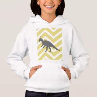 Tyrannosaurus on zigzag chevron - Yellow. Hoodie