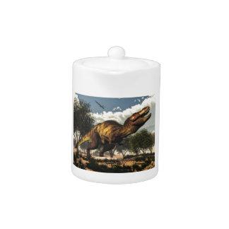Tyrannosaurus rex and its eggs teapot