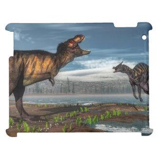 Tyrannosaurus rex and saurolophus dinosaurs iPad case