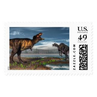 Tyrannosaurus rex and saurolophus dinosaurs postage