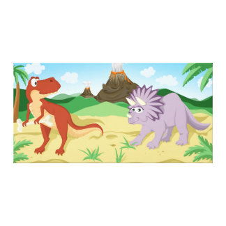 Tyrannosaurus Rex and Triceratops Canvas