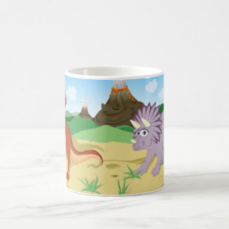 Tyrannosaurus Rex and Triceratops Classic White Coffee Mug