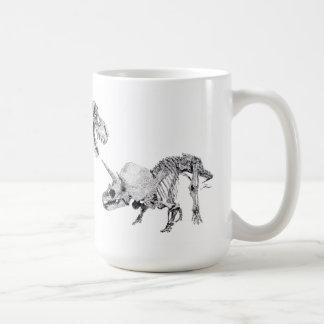 Tyrannosaurus rex and Triceratops Basic White Mug