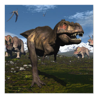 Tyrannosaurus rex attacked by triceratops dinosaur card