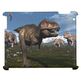 Tyrannosaurus rex attacked by triceratops dinosaur iPad cases
