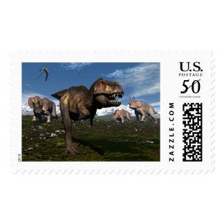 Tyrannosaurus rex attacked by triceratops dinosaur postage