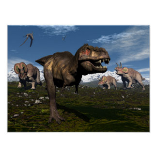 Tyrannosaurus rex attacked by triceratops dinosaur poster