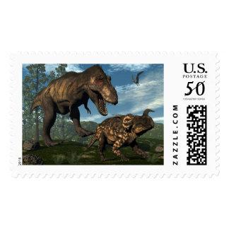 Tyrannosaurus rex attacking einiosaurus dinosaur postage