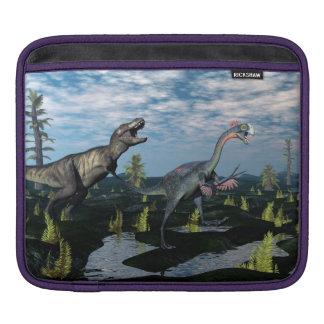Tyrannosaurus rex attacking gigantoraptor dinosaur sleeve for iPads