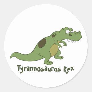 Tyrannosaurus Rex Cartoon Classic Round Sticker