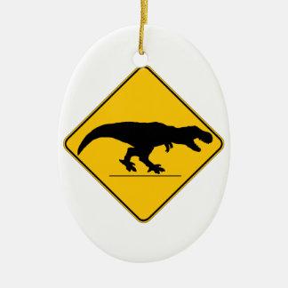 Tyrannosaurus rex crossing ceramic ornament