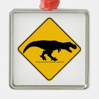 Tyrannosaurus rex crossing christmas tree ornaments