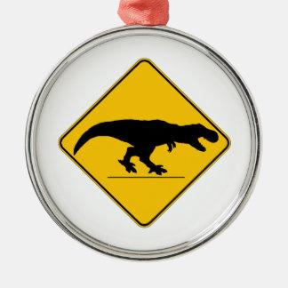 Tyrannosaurus rex crossing christmas ornament