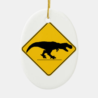Tyrannosaurus rex crossing christmas tree ornament