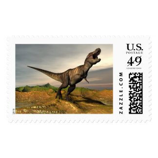 Tyrannosaurus rex dinosaur - 3D render Postage