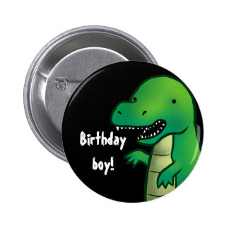 Tyrannosaurus Rex Dinosaur cartoon birthday badge 2 Inch Round Button
