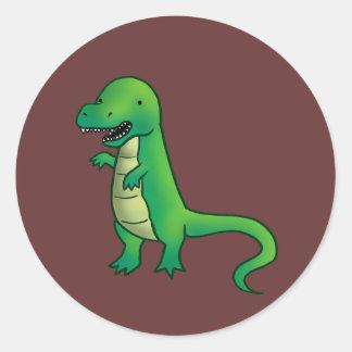 Tyrannosaurus Rex Dinosaur cartoon Classic Round Sticker