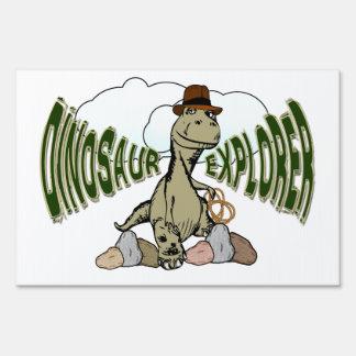 Tyrannosaurus Rex Dinosaur Explorer with Text Yard Signs