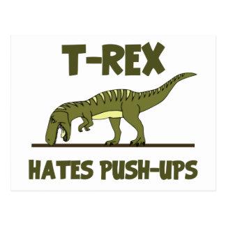 Tyrannosaurus Rex Dinosaur Hates Push Ups Postcard