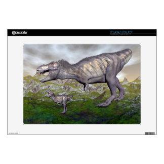 Tyrannosaurus rex dinosaur mum and baby- 3D render Laptop Decal