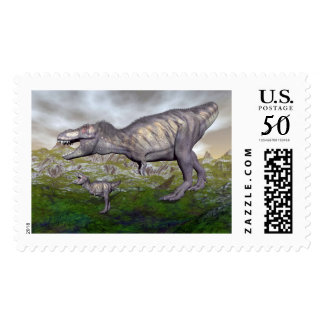 Tyrannosaurus rex dinosaur mum and baby- 3D render Postage
