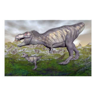 Tyrannosaurus rex dinosaur mum and baby- 3D render Stationery