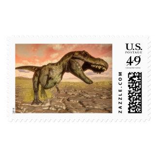 Tyrannosaurus rex dinosaur roaring postage