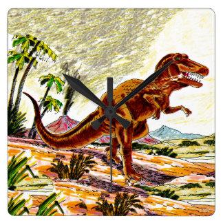 Tyrannosaurus Rex Dinosaur Square Wall Clock