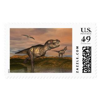 Tyrannosaurus rex dinosaurs - 3D render Postage