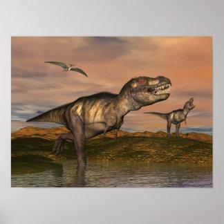 Tyrannosaurus rex dinosaurs - 3D render Poster
