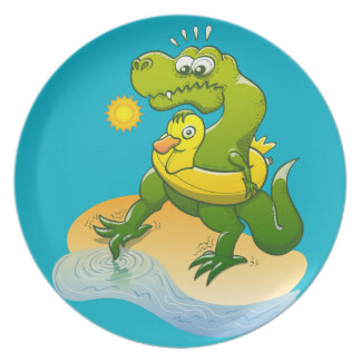 Tyrannosaurus Rex Dipping a Toe in Water Dinner Plate