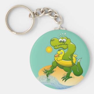 Tyrannosaurus Rex Dipping a Toe in Water Keychain