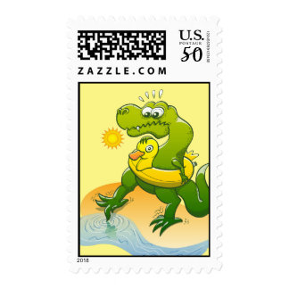 Tyrannosaurus Rex Dipping a Toe in Water Postage