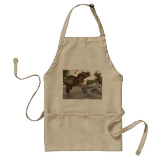 Tyrannosaurus rex escaping from triceratops attack adult apron