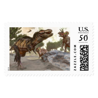 Tyrannosaurus rex escaping from triceratops attack postage