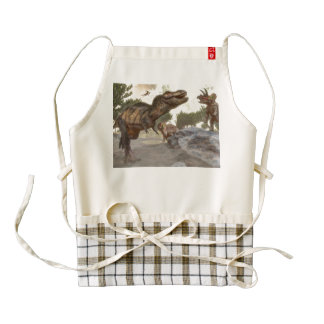 Tyrannosaurus rex escaping from triceratops attack zazzle HEART apron