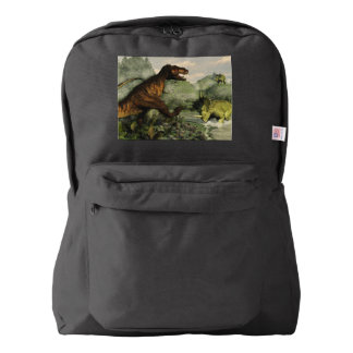 Tyrannosaurus rex fighting against styracosaurus american apparel™ backpack