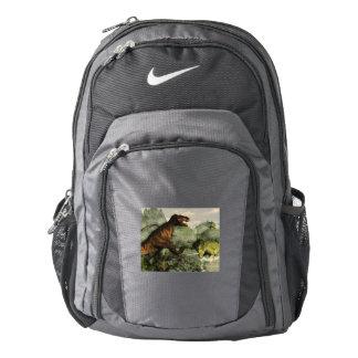 Tyrannosaurus rex fighting against styracosaurus backpack