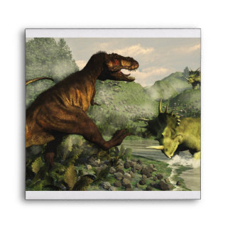 Tyrannosaurus rex fighting against styracosaurus envelope